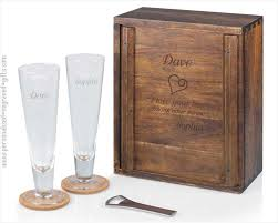 personalized wooden gifts personalized pilsner craft wooden gift box set