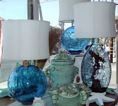 furniture beautiful bungalow blue lamp with white barrel lamp