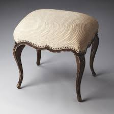 shabby fabric upholstered vanity chair with black stained oak wood