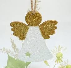 Glitter Christmas Decorations by Christmas Angel Fairy Tree Decoration With Cut Out Star