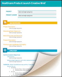 healthcare product launch creative brief template marketing and