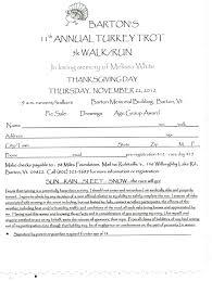 turkey trot registration form barton area chamber of commerce