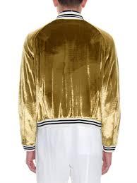 black and gold motorcycle jacket haider ackermann banded cuff velvet bomber jacket for men lyst