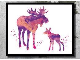 deer home decor and baby moose watercolor art print deer watercolor stag painting