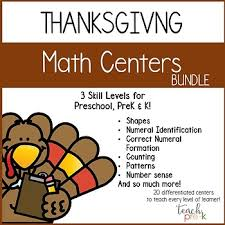 thanksgiving math centers leveled math bundle for preschool prek