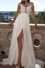 ivory lace wedding dress ivory lace wedding dresses front slit see through wedding