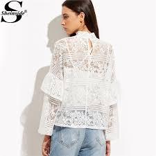 sheinside white long sleeve lace blouse long sleeve women winter