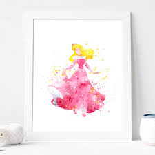 disney princess home decor sleeping beauty print disney princess poster watercolor art