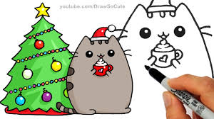 fun2draw thanksgiving how to draw pusheen cat on pumpkin with candy corn step by step