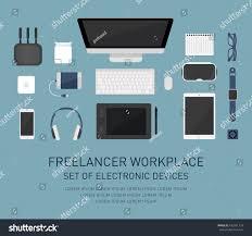 Design Gadgets Freelancer Workplace Flat Design Electronic Elements Stock Vector