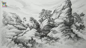 basic pencil shading big rocks in a landscape with pencil