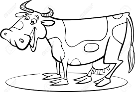 coloring page illustration of funny farm cow royalty free cliparts