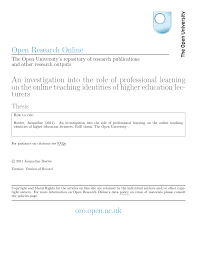an investigation into the role of professional learning on the