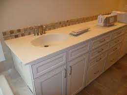 sink on white bathroom tile countertop ideas plus vanity many