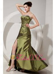 gorgeous olive green prom dress column sheath sweetheart beading