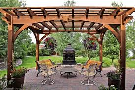 Large Brick Patio Design With 12 X 16 Cedar Pergola Outdoor by 55 Best Backyard Retreats With Fire Pits Chimineas Fire Pots