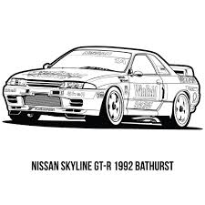 nissan skyline drawing outline car coloring pages coloring pages