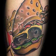 40 cheeseburger tattoo designs for men food ink ideas