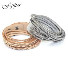 crystal leather wrap bracelet images Fashion 6 layer wrap bracelets slake leather bracelets with jpg