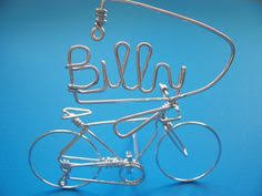 word bicycle ornament decor metal wire