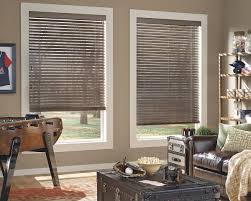 interior grey wood venetian blinds with brown leather upholstery
