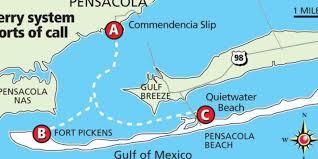 Pensacola Map Ferry Service Would Link Pensacola Santa Rosa Island