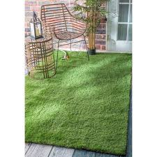 Outdoor Grass Rugs Nuloom Artificial Grass Outdoor Lawn Turf Green Patio Rug 5 X 8