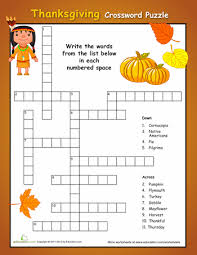 simple thanksgiving crossword puzzle thanksgiving crossword