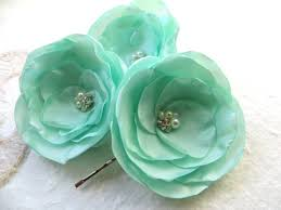mint green flowers mint green wedding hair flowers set of 3 bridesmaid bridal