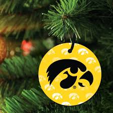 of iowa hawkeyes ornament set of 3 different shapes