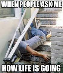 Ouch Meme - when people ask how my life is going fallen down the stairs in a