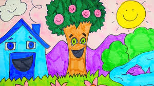 how to draw spring season scenery easy for kids youtube