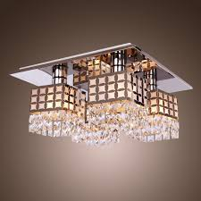 Crystal Flush Mount Ceiling Light Fixture by Cool Flora Flush Mount Ceiling Light Design With Bronze Panel And