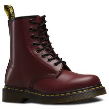 womens size 12 black combat boots dr martens 1460 color cherry material smooth shoes