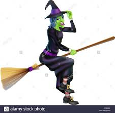 illustration of a happy cartoon halloween witch flying on her