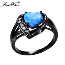 aliexpress buy junxin new arrival black junxin women blue opal heart ring with aaa zircon black gold