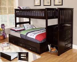 bedroom mahagony twin bunk bed with ladder combined cream painted
