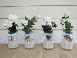 items similar lace mason jar wedding centerpieces etsy diy