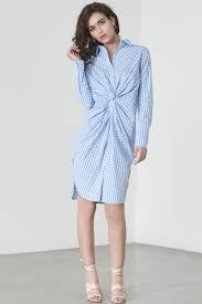 twist front shirt dress in blue u0026 white gingham my mayn