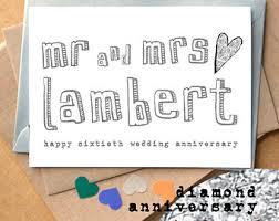 60th Wedding Anniversary Greetings 60th Wedding Anniversary Card Handmade Diamond Wedding