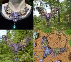 fairy crystal necklace images Amethyst wolf necklace fantasy elf jewellery in wire wrap and jpg