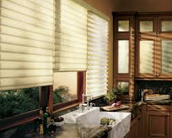 kitchen curtains ideas with nice blinds with wooden set cabinetry