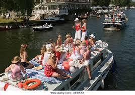 thames river boat hen party friendship friends henley royal regatta stock photos friendship