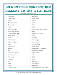 50 non food sensory bin fillers free printable list and next