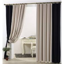 simple casual blackout curtain in beige and black color for