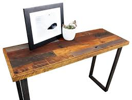 reclaimed wood patchwork hall table with metal legs industrial