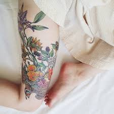 floral thigh sleeve tattoomagz