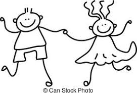 stock illustrations of happy couple toddler style drawing of a