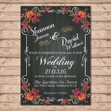 floral chalkboard wedding invitation print at home file or