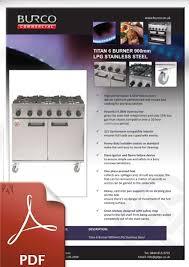burco titan 6 burner lpg gas range cooker rg90lpg commercial